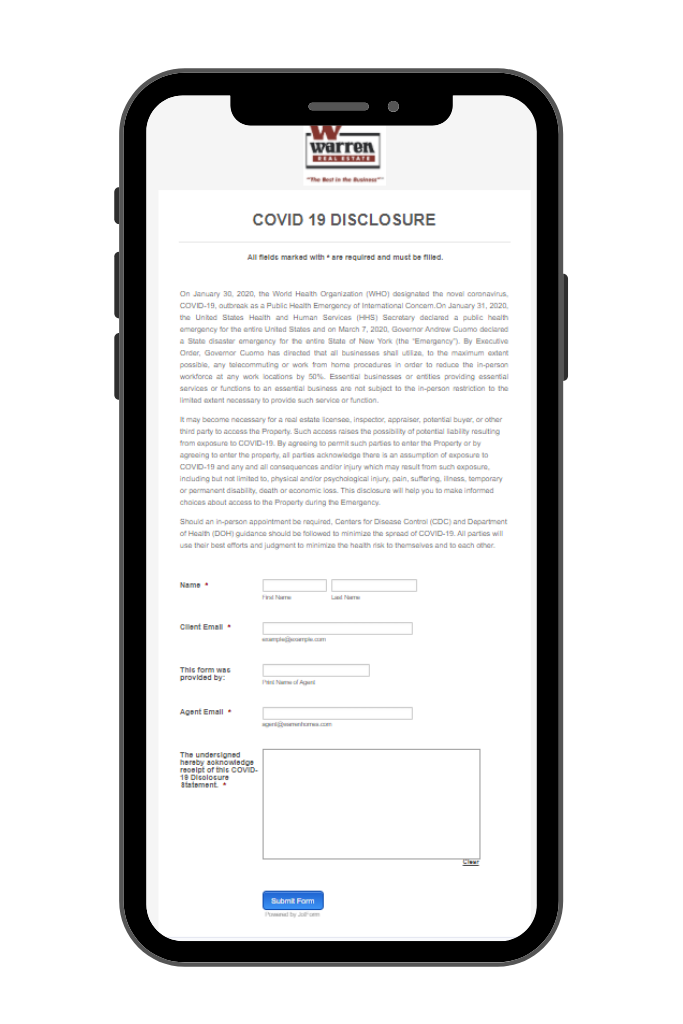 Iphone Displaying COVID Jot Form