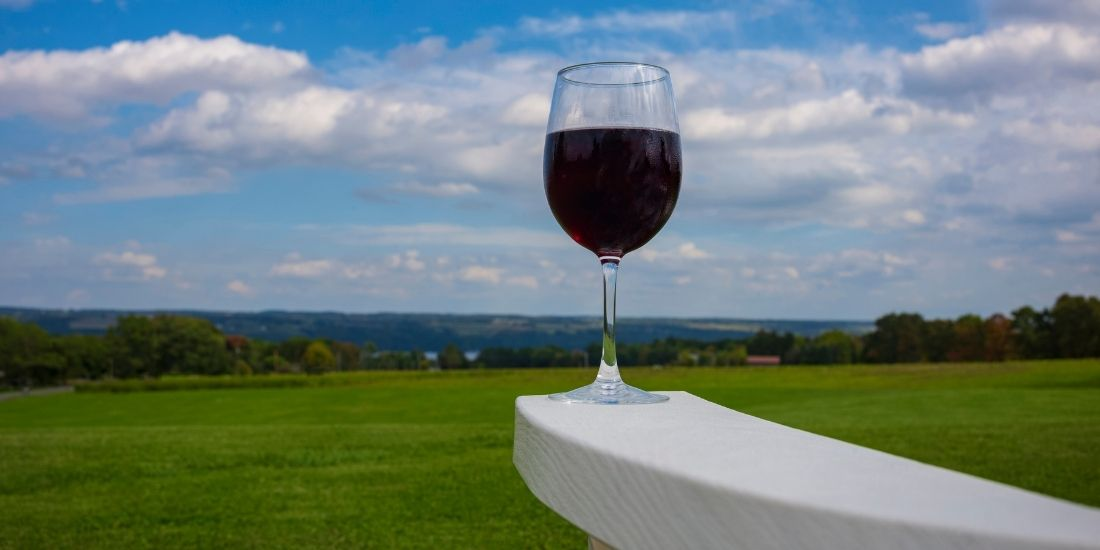 Wine Glass and chair with seneca lake view